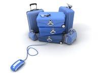 голубая проверка он-лайн Стоковая Фотография