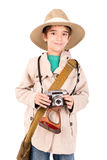 徒步旅行队衣裳的男孩 免版税库存照片