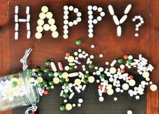 Χάπια και ευτυχία Στοκ φωτογραφία με δικαίωμα ελεύθερης χρήσης