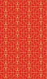 金黄无缝的葡萄酒中国式窗口网眼图案正方形几何花纹花样背景 免版税库存图片