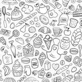 Нарисованная рукой картина хлебопекарни безшовная Стоковое Фото