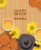 与中国月饼的中间秋天灯节传染媒介背景 免版税库存照片