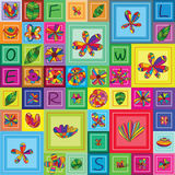 花昆虫框架正方形框架无缝的样式 库存图片