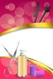 背景抽象桃红色理发理发师工具红色卷发的人剪刀掠过金丝带垂直的框架例证 库存照片