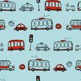 滑稽的汽车 哄骗无缝的样式纹理 免版税图库摄影