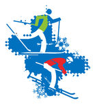 难看的东西背景的滑雪者 免版税库存图片