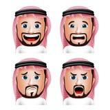 用不同的表情的现实沙特阿拉伯人头 免版税库存照片