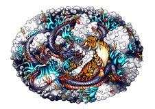 Σχέδιο δράκων και τιγρών ύφους της Ιαπωνίας Στοκ Φωτογραφία