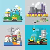 工厂风景,生态概念 免版税库存照片