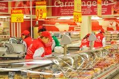 在大型超级市场欧尚的照片 免版税库存照片
