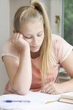发现家庭作业的女孩画象困难 免版税库存图片