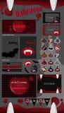 Собрание партии хеллоуина ярлыки хеллоуина вектора, значки, элементы, поздравительная открытка Стоковое Изображение RF