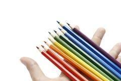 χρωματισμένα μολύβια χεριών Στοκ Εικόνα