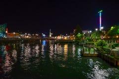 Взгляд ночи Бродвей на пляже Стоковая Фотография