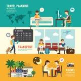 商务旅游设计观念人集合计划,搜寻 免版税库存照片