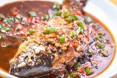 被炖的鲤鱼用辣椒和大蒜 免版税库存图片