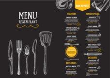 Меню кафа ресторана, дизайн шаблона Рогулька еды Стоковое Изображение RF