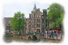 Улицы старого Амстердама Стоковые Изображения