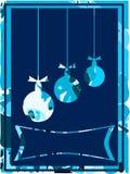 Славная поздравительная открытка рождества в сини Стоковое фото RF