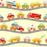 玩具运输无缝的样式 免版税库存图片