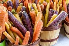 新鲜的有机水果和蔬菜在农夫市场上 库存照片