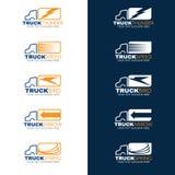 蓝色和橙色卡车运输商标传染媒介 免版税库存图片