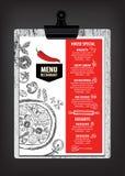餐馆咖啡馆菜单,模板设计 食物飞行物 图库摄影