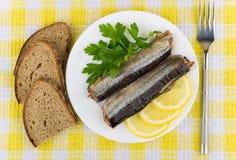 罐装鱼、柠檬、荷兰芹在板材和面包片 免版税库存照片