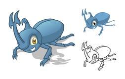 与平的设计和线艺术黑白版本的详细的犀牛甲虫漫画人物 库存照片