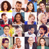 拼贴画不同的面孔小组人概念 免版税库存图片