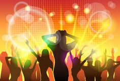 Χορεύοντας κόμμα σκιαγραφιών πλήθους ανθρώπων λεσχών νύχτας Στοκ φωτογραφίες με δικαίωμα ελεύθερης χρήσης