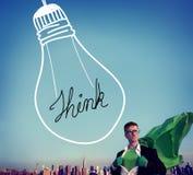 想法启发认为创造性的电灯泡概念 免版税图库摄影