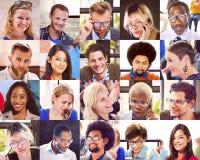 拼贴画不同的面孔小组人概念 库存图片