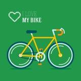 Я люблю мою иллюстрацию вектора велосипеда битника Стоковые Фотографии RF