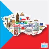 Υπόβαθρο Δημοκρατίας της Τσεχίας Καθορισμένα διανυσματικά εικονίδια και σύμβολα ορόσημων με μορφή χάρτη Στοκ Εικόνες