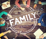 家庭关系育儿一代概念 免版税库存图片