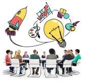 想法启发认为创造性的研究概念 免版税库存照片