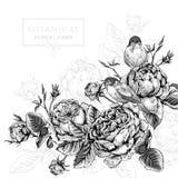 在葡萄酒样式的花卉卡片与开花的英语 免版税库存照片