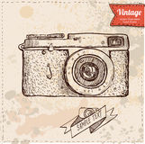 Классические вектор шаржа камеры и иллюстрация, нарисованная рука, стиль эскиза Стоковое Фото