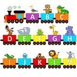 字母表火车动物从A到M 免版税库存图片