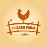Логотип вектора, цыпленок на загородке Продукты от Стоковое Фото