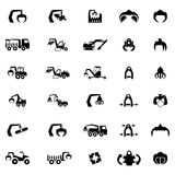 Διανυσματικό σύνολο εικονιδίων βαριών μηχανής, τρακτέρ και οχημάτων Στοκ Εικόνες