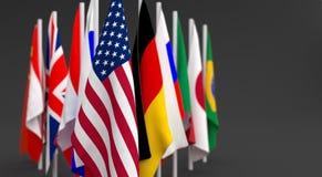 编组许多旗子国家 库存图片