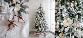 与礼物的圣诞树在底下在客厅 免版税图库摄影