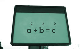 在广告牌的毕达哥拉斯的定理 免版税库存照片