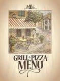 与街道咖啡馆的图表例证的格栅和薄饼菜单 库存图片