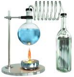 背景蓝色玻璃玻璃器皿实验室 库存图片