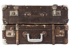 Δύο καφετιές βαλίτσες Στοκ εικόνες με δικαίωμα ελεύθερης χρήσης
