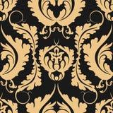 葡萄酒无缝的样式大马士革 在黑暗的背景的典雅的大金黄花 可以使用设计织品,墙纸,我们 免版税库存图片