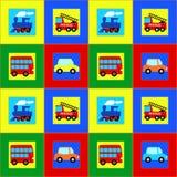 火车、公共汽车、汽车和消防车儿童无缝的样式 库存图片